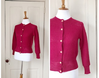 Romance of the Heart 1930s/1940s Cranberry Wool Knit Cardigan with Wood Button Details