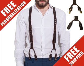 Mens Leather Suspenders Personalized Y-Back Braces Button/Clips Suspenders Wedding Groomsmen Suspenders Men's Gift for Him/Father's Day Gift