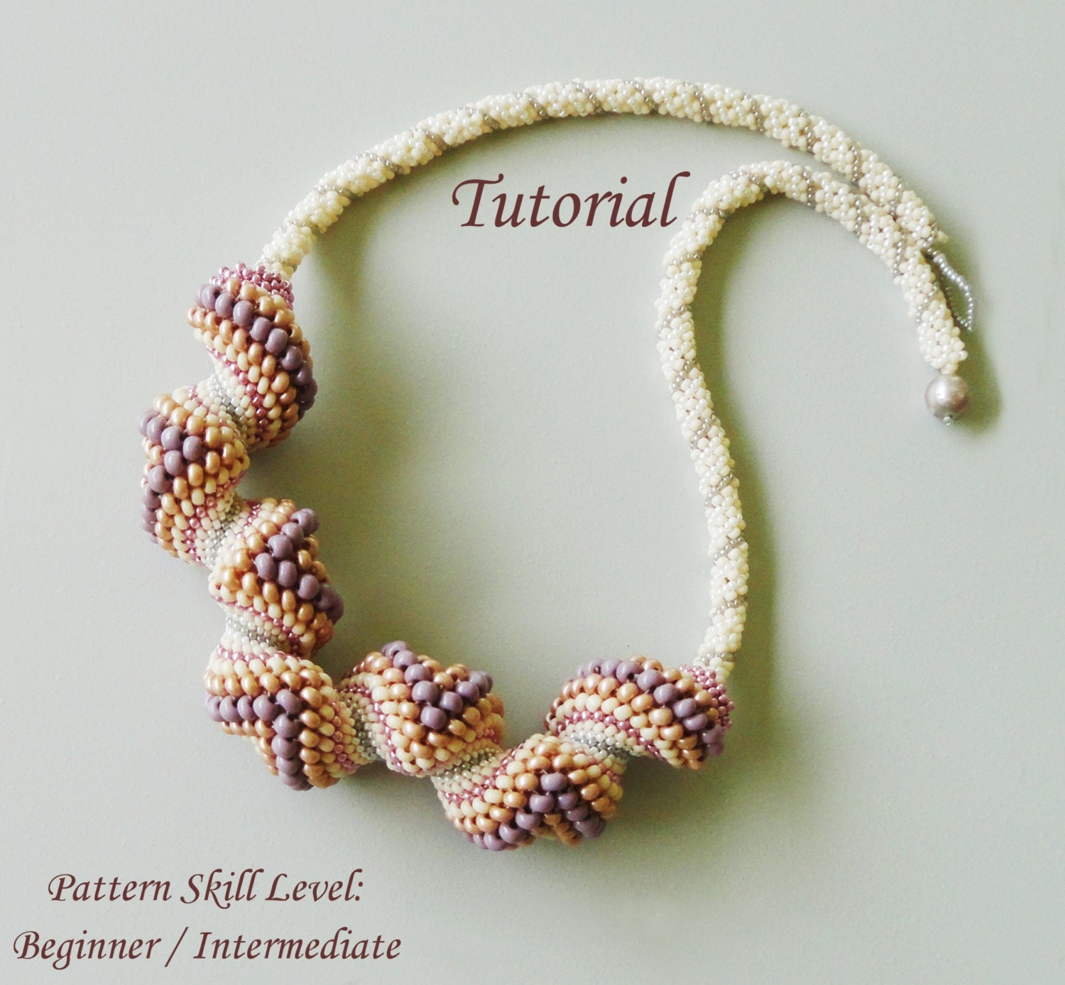 PEACHES AND CREAM Cellini spiral seed bead necklace beading