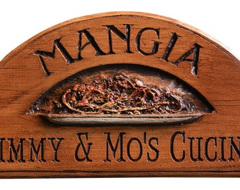 Mangia Italian Kitchen Sign with Bowl of Pasta Personalized