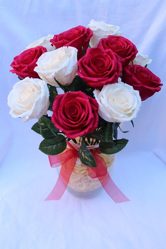 Flower arrangement crepe paper flower paper roses real mightylinksfo