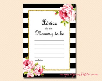Advice Cards, Advice for mommy to be, advice for new mom, Gold Glitter, Printable Baby Shower, Black White Baby Shower, Activities TLC04