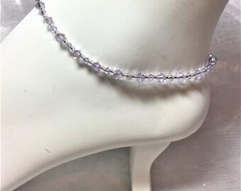 Violet Crystal Silver Plated Adjustable Anklet #644