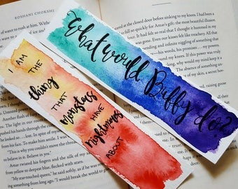 Buffy Vampire Slayer Watercolor Bookmark, Gift For Booklover, Bibliophile