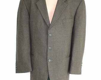 Men's Vintage LLOYD'S Tailored Fitted Green Monochrome Pure New Wool Blazer Jacket Size XL / Chest Approx 46 in