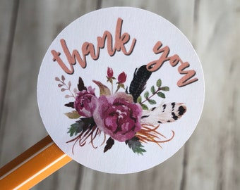 Thank You Sticker   Watercolor Stickers   Floral Stickers   Shipping Stickers   Maker Stickers   Small Business Stickers