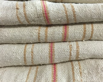 "Extra Long French Grain Sack - 19""x53"" Orange and Pink Stripes Linen Hemp Hand Woven Feed Sack with Patchwork - 841"