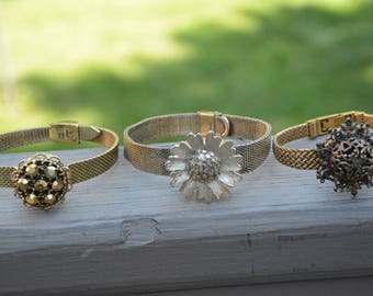 Jeweled Vintage Watch Band Bracelets