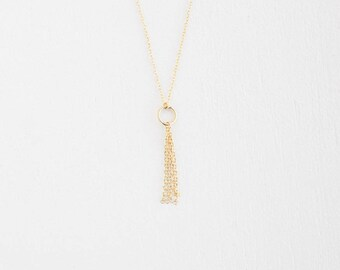 Chain Tassel Necklace - 14k Gold Filled or Sterling Silver - Valenteen