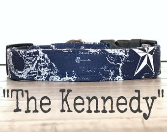 Dog Collars for Boys, DOG COLLAR, The Kennedy, Navy Dog Collar, Nautical, Dog Collars,