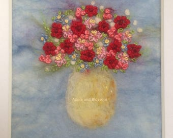 Embroidered Flowers in Vase-Flowers-Painting With Wool-Felt-Bouquet-Embroidery-Handmade-Anniversary-Wedding-Picture-Art- Embroidered Flowers
