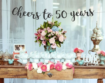 Cheers to 50 Years Banner, 50th Part Banner, 50th Birthday Party, 50th Anniversary,50th Birthday Decor, Gold Banner, 59th Birthday Sign