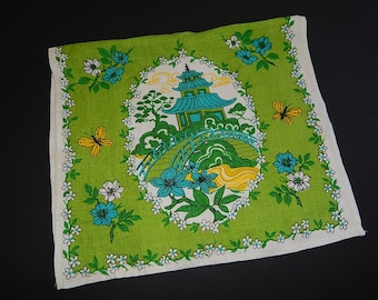 "15"" x 27"" Linen Lime Green Kitchen Towel/Table Cover Asian Temple + Butterflies"