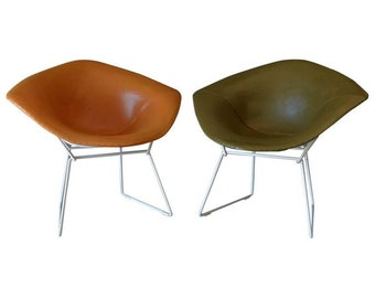 Pair of Early Harry Bertoia for Knoll Diamond Chairs with Original Leather Cover