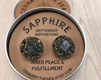 Sapphire Cufflink, September Birthstone , Raw Stone, birthstone  gift for boyfriend, gift for man, boss gift anniversery gift