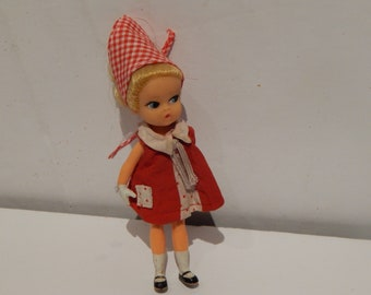 Vintage Blonde Dolly Darlings Playtime Doll With Red Dress and Red Gingham Head Scarf Hasbro 1960s