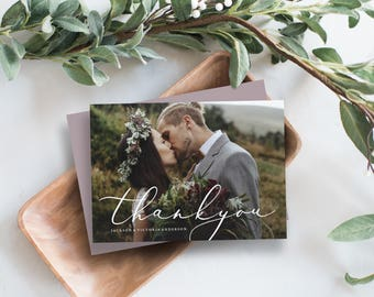 Editable Template - Instant Download In Love Wedding Thank You Photo Card