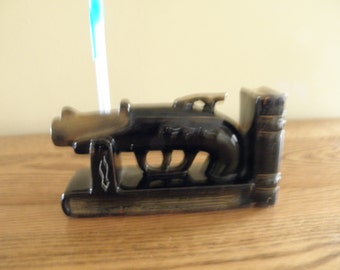 Red Clay Black Glaze Gun Bookend and Pencil Holder