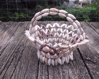 Vintage wire with shell basket, Beach decor, Shell Basket