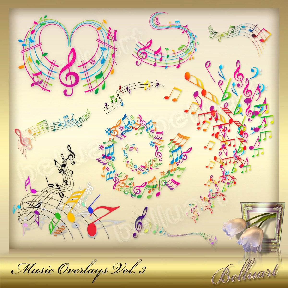 10 Music Overlays Vol. 3 Music Note clip art colorful