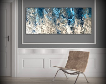 Large Abstract Painting Print Navy Blue Print Art Large Canvas Art Blue and White Art Print Abstract Canvas Blue Wall Decor Abstract Artwork