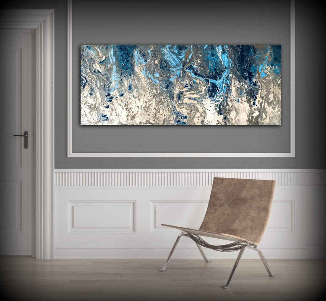 🔎zoom. large abstract painting print navy blue print art large canvas