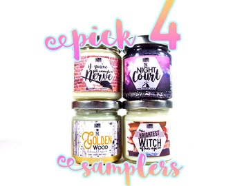 Pick Four 4oz Candles - Book Candles - Fandom Candles - 4oz Soy Wax Candles - LemonCakes Candle Co
