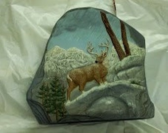 "Ceramic ""Rock"", with Deer on Rocks"