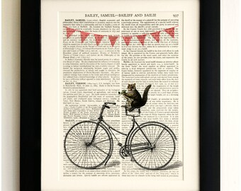 FRAMED ART PRINT on old antique book page - Squirrel taking a bike ride, Vintage Wall Art Print Encyclopaedia Dictionary Page
