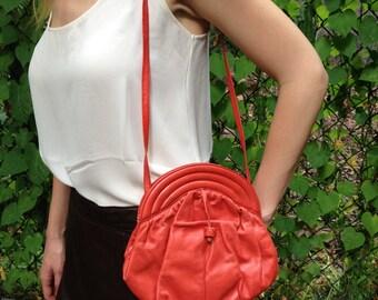 Vintage Italian Sunrise Leather Shoulder Bag