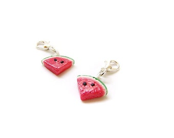 Watermelon Charm - Fake Food Jewelry - Handmade Polymer Clay Watermelon Charm