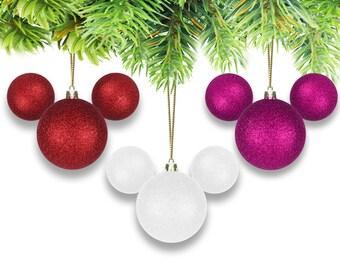 Valentine's Day Mickey-Shaped Glitter Ornaments-Set of (3)
