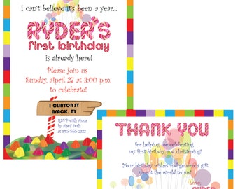Candy Land Invitation and Thank You Card Printable File