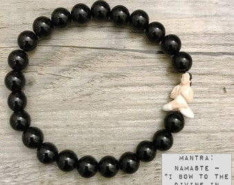 Bracelet | Chakra Beaded Mala ॐ NAMASTE: Black Onyx | Yoga Girl | Boho Stacks | Energy Healing Karma Love | OOAK Luxury Organic Jewelry |