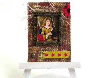 ACEO Original Mixed Media Art Card Mixed Media Collage Artist Card Royal Woman Red Yellow