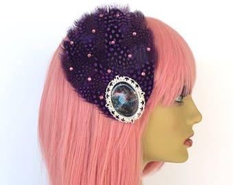 Purple Feather Fascinator, Polka Dotted Fascinator, Tea Party Hat, Great Gatsby Fascinator, Jazz Age Fascinator, Purple Feather Hair Clip