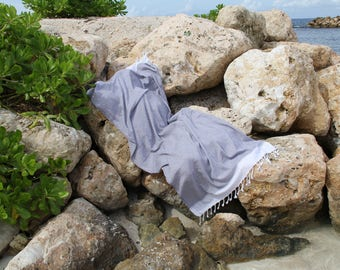 Peshtemal - GREY & WHITE STRIPPED - 100% Cotton - Traditional Turkish Hammam Towel