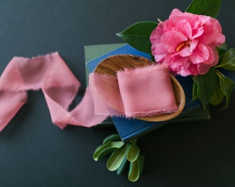 Coral Pink Silk Ribbon; 100% Silk Chiffon; Pink Wedding bridal bouquet, invitations, wedding favors