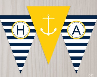 Preppy Nautical Birthday Banner, INSTANT DOWNLOAD Printable PDF Happy Birthday Banner, Anchor Banner, Bunting Flags, Navy Blue and Yellow