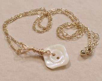 Gold Hand Wired Vintage Square Carved Mother of Pearl Button Necklace