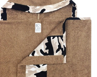 Taupe Camo Hooded Towel Black Grey Taupe