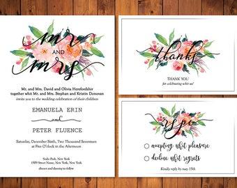 Wedding Invitation Template, Wedding Invitation Printable, Wedding Invite, Editable Invitation, Calligraphy Digital File