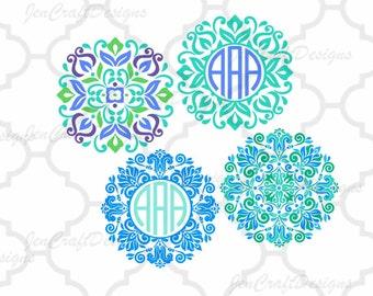 Floral Mandala Pattern Circle Monogram Frame, Indian Boho svg Spring Frames   svg dxf eps jpg svg ai png monogram Frame svg cut files