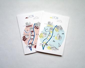 Lot card postcard Lyon