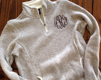 Heathered 1/4 zip pullover, monogrammed pullover, womens heathered fleece pullover, monogrammed heathered pullover