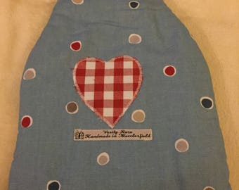 Spotty Hot Water Bottle Cover with sailing boats, hottie cover, hot water bottle cosy