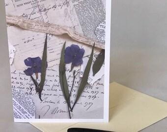 PRESSED FLOWER COLLAGE, blue vintage style greeting card, blank greeting card, pressed flower card, photo collage card, antique style card