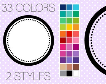 Dotty Circle Digital Frames - Clipart Frames - Instant Download - Commercial Use