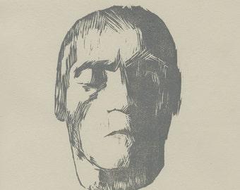 Beethoven Block Print // Original Woodblock Print of Ludwig van Beethoven's Death Mask