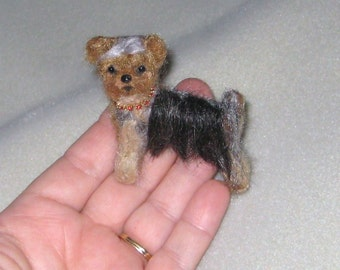 Pet Gift Your dog as a cute Pin / Custom  Needle Felted Portrait / Sculpture Brooch / example Yorkie